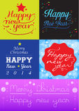 Happy New Year. Collection of Merry Christmas and Happy New Year, Set of calligraphic and typographic elements stock illustration