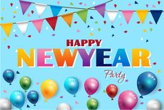Happy new year Color Balloons and Party Flags Background. Vector Royalty Free Stock Photos