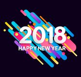 Happy New Year 2018 color gradient decoration card. Happy New Year 2018 number typography greeting card with colorful 2d geometric gradient decoration on dark Stock Photography