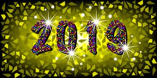 2019 Happy New Year with color mosaic pattern texture, abstract modern style, vector illustration isolated or mosaic background. 2019 Happy New Year with color Stock Image