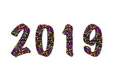 2019 Happy New Year with color mosaic pattern texture, abstract modern style, vector illustration isolated or white background. Elements for calendar and Royalty Free Stock Image