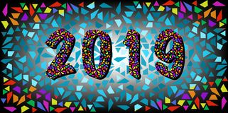 2019 Happy New Year with color mosaic pattern texture, abstract modern style, vector illustration isolated or mosaic background. 2019 Happy New Year with color Royalty Free Stock Photos
