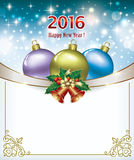 Happy New Year 2016 with colored Christmas balls Royalty Free Stock Photo