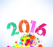 Happy 2016 new year with colorful background.  stock illustration