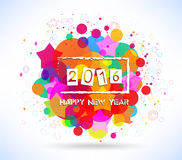 Happy 2016 new year with colorful background.  royalty free illustration