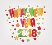 Happy new year 2018 colorful background.  vector illustration