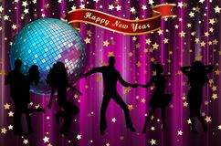 Happy New Year colorful background / card. With dancers, stars and disco ball stock illustration