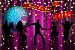Happy New Year 2018 colorful background / card. With dancers, stars and disco ball Stock Image