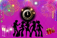 Happy New Year colorful background / card. With dancers, stars, fireworks, champagne, clock and presents stock illustration