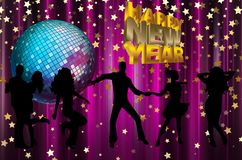 Happy New Year colorful background / card. With dancers, stars and disco ball Royalty Free Stock Photos