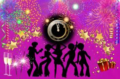Happy New Year colorful background / card. With dancers, stars, fireworks, champagne, clock and presents Royalty Free Stock Photography