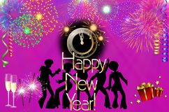 Happy New Year colorful background / card. With dancers, stars, fireworks, champagne, clock and presents Stock Images