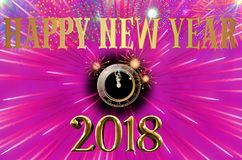 Happy New Year 2018 colorful background / card. With stars, fireworks and clock Royalty Free Stock Images