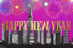 Happy New Year colorful background / card. With skyscrapers and fireworks Stock Image