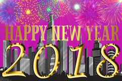 Happy New Year 2018 colorful background / card. With skyscrapers and fireworks Stock Photo