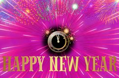 Happy New Year colorful background / card. With stars, fireworks and clock stock illustration