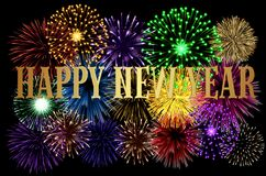 Happy New Year colorful background. With fireworks royalty free illustration