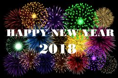 Happy New Year 2018 colorful background. With fireworks Stock Image