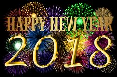 Happy New Year 2018 colorful background. With fireworks Royalty Free Stock Photography