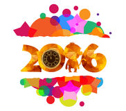 Happy new year colorful background. gold clock, monkey geometrical Royalty Free Stock Photos