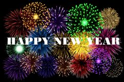 Happy New Year colorful background. With fireworks stock illustration