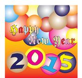 Happy New Year 2015 Colorful ball Festival Royalty Free Stock Image