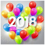 Happy New Year 2018 with colorful balloons and firework celebrate concept. Happy New Year 2018 with colorful balloons and firework celebrate concept, vector Stock Image