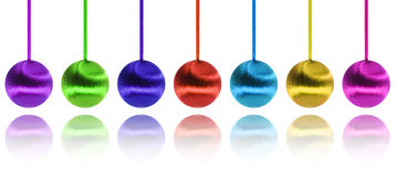Happy new year and colorful balls over white Stock Photo