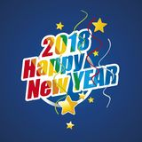 2018 Happy New Year colorful blue. Logo vector Stock Photo