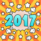 Happy new 2017 year. Colorful bright pop art New 2017 Year poster. Comic book style. Vector, , eps10 Royalty Free Stock Images