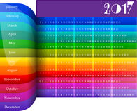 Happy New Year 2017 colorful calendar. Happy New Year 2017 colorful rainbow style calendar. Vector illustration Royalty Free Stock Images