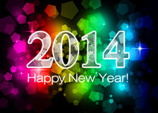 2014 Happy New Year. Colorful card Stock Photo