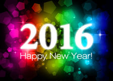 2016 Happy New Year. Colorful card Stock Photos