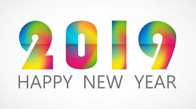 2019 Happy New Year colorful card design. Vector happy new year greeting illustration royalty free stock photos