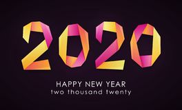 Happy New Year 2020 colorful card stock illustration