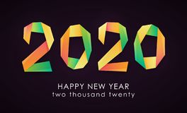 Happy New Year 2020 colorful card vector illustration