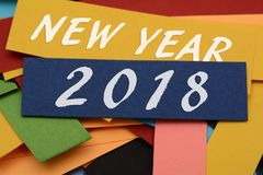 Happy new Year 2018 on Colorful Cards Stock Photo