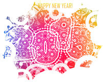 Happy New year 2015 with colorful circles Royalty Free Stock Photo