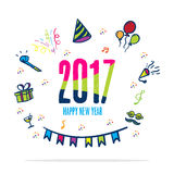 2017 happy new year colorful color with doodle party icon on whi. Te background,Holiday card Stock Photography