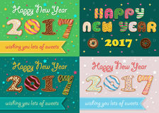 Happy New Year 2017. Colorful Donuts font. Happy New Year 2017. Colorful Donuts artistic font. Banners for custom texts. Wishing you lots of sweets. Vector Stock Photography