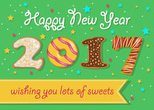 Happy New Year 2017. Colorful donuts font. Happy New Year 2017. Wishing you lots of sweets. Colorful donuts font. Green background with confetti stars. Greeting Stock Photography
