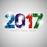 Happy new year 2017. Colorful dots design. Vector simple style i. Llustration Stock Image