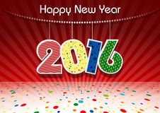 Happy New Year 2016. With Colorful Dotted Background Illustration - Vector Royalty Free Stock Photo