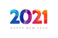Happy New Year 2021 colorful facet logo text design