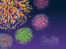 Happy new year 2015 with colorful firework. On dark purrple-blue background Royalty Free Stock Photos