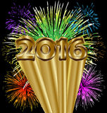 2016 Happy new year colorful fireworks Royalty Free Stock Image