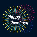 Happy new year 2019 with colorful fireworks background. Design element can be used for poster, greeting card, wallpaper; backdrop, brochure, leaflet, flyer vector illustration