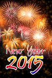 Happy New Year 2015 with colorful fireworks Royalty Free Stock Photography