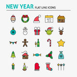 Happy New Year Colorful Flat Line Icons Set Stock Images
