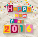 Happy New Year 2016. Colorful font on crumpled paper background. Greeting card template.Vector illustration Stock Photo